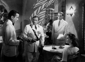 humphrey bogart, claude rains, paul henried and ingrid bergman - casablanca 1943