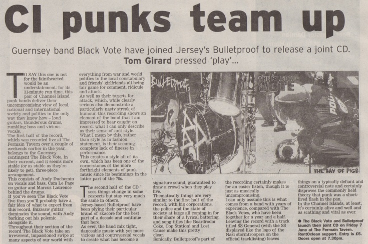 The Black Vote and Bulletproof album review scan - 25:05:13