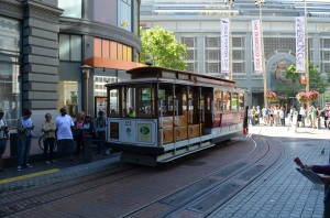 The cable car turnaround on Powell Street