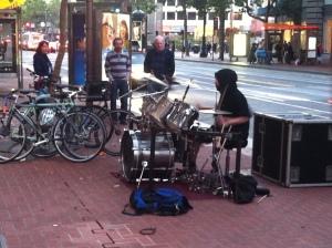 Busking drummer