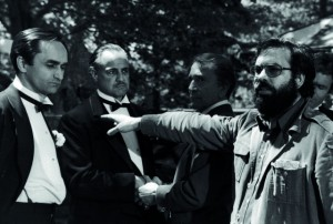Brando (middle) and Coppola (right) on set