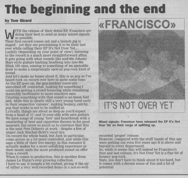 Francisco - Its Not Over Yet review scan - 26:07:14
