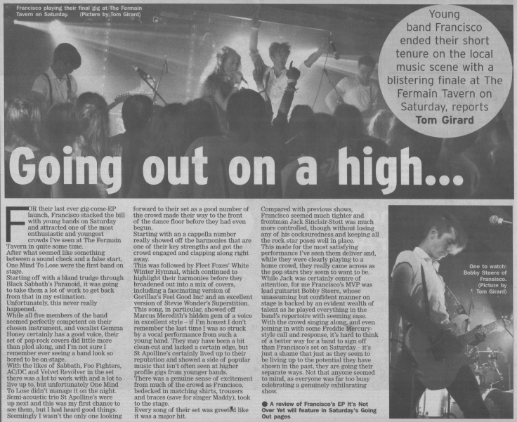 Francisco last gig review 24:07:14 scan