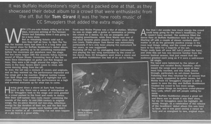 Buffalo Huddleston album launch review scan - 25:10:14