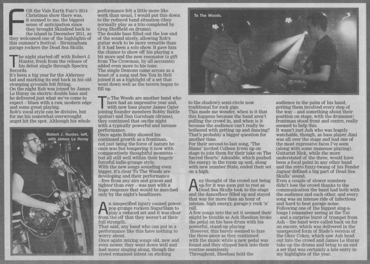 Dead Sea Skulls, SugarSlam, To The Woods, Robert J Hunter review scan - 10:01:15