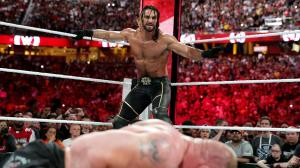 Rollins sets up to Curbstomp Lesnar