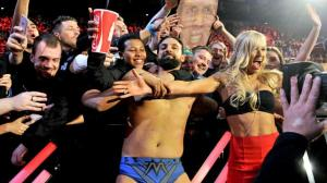 Mizdow and Summer Rae celebrate