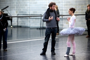 Darren Aaronofsky and Natalie Portman on set of Black Swan