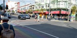 Rainbow crosswalk at Castro and 18th