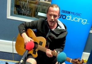 Buff Hudd in the BBC Introducing Guernsey studio