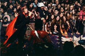 Jagger on stage at Altamont