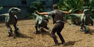 Chris Pratt and raptors - Jurassic World