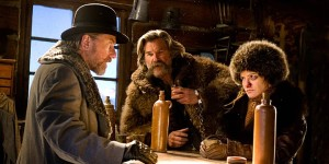 Tim Roth, Kurt Russel and Jennifer Jason Leigh in The Hateful Eight
