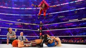 Sasha hits a frog splash