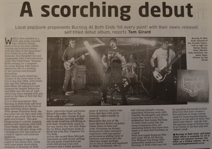 Burning At Both Ends album review scan