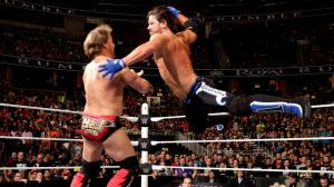 Chris Jericho and AJ Styles in the 2016 Royal Rumble
