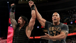 Roman Reigns and The Rock at the 2015 Royal Rumble