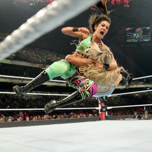 Bayley attacks Charlotte Flair