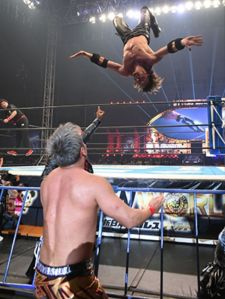 Omega with a springboard moonsault on Okada