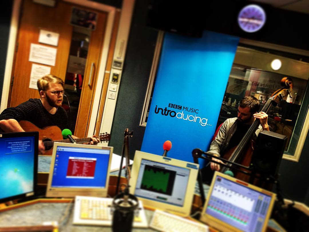 Gregory Harrison and Nathan Arnaud in the BBC Introducing Guernsey studio