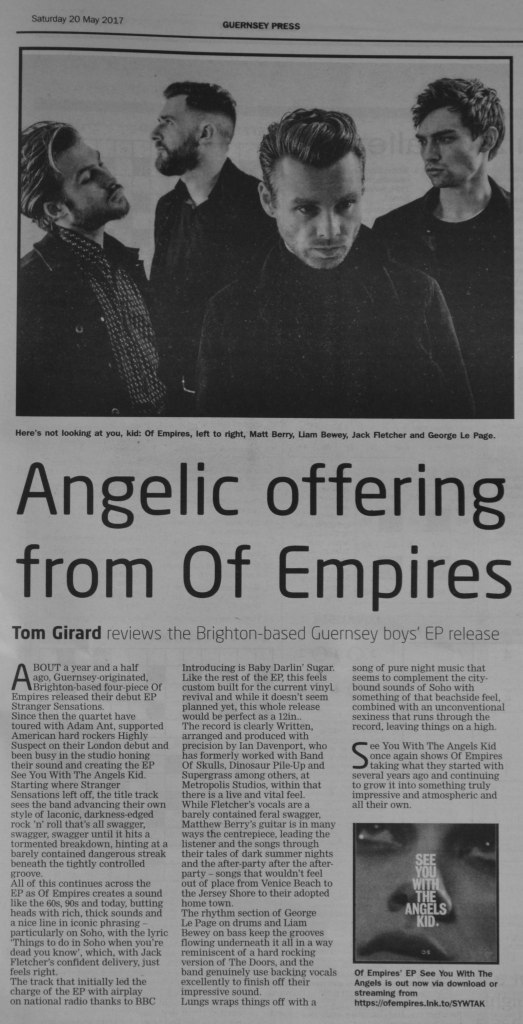 Of Empires - See You With The Angels Kid EP - Guernsey Press 20/05/17