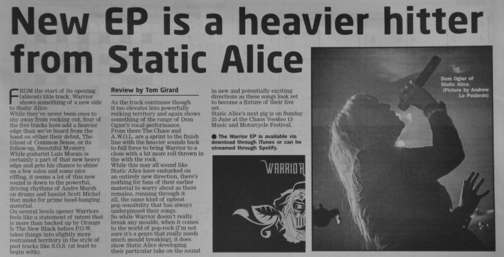 Static Alice - Warrior review - 27/05/17