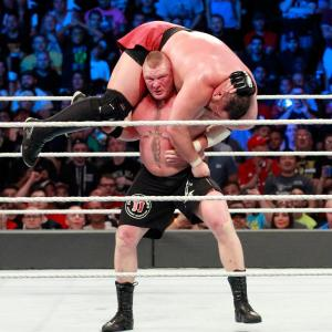 Brock Lesnar lifts Samoa Joe for an F5