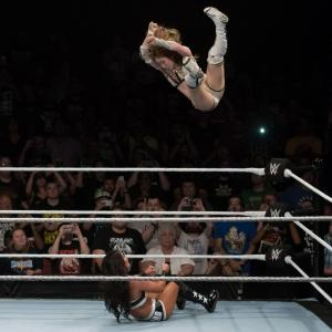Kairi Sane elbow drop on Tessa Blanchard