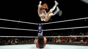 Kairi Sane elbow drop on Shayna Baszler