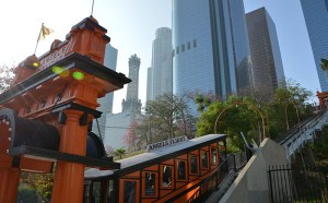 Angels Flight with the US Bank Tower above
