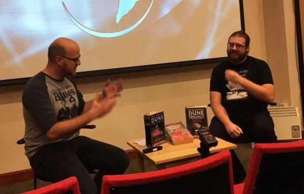 Wynter Tyson and Tom Girard podcasting