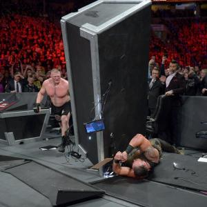 Lesnar, the table and Strowman